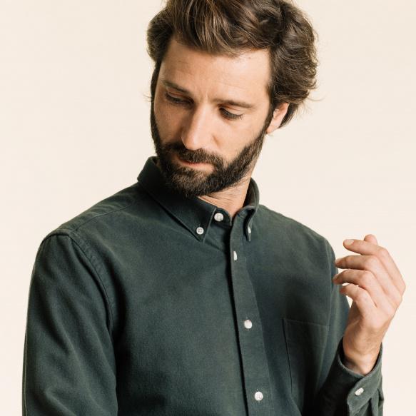 Chemise décontractée en flanelle épaisse verte