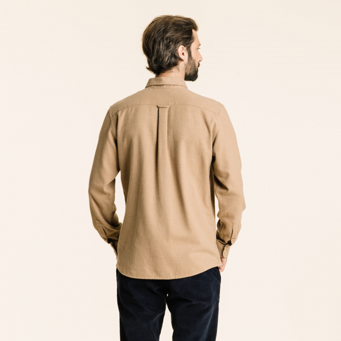 Relaxed fit thick beige flannel shirt
