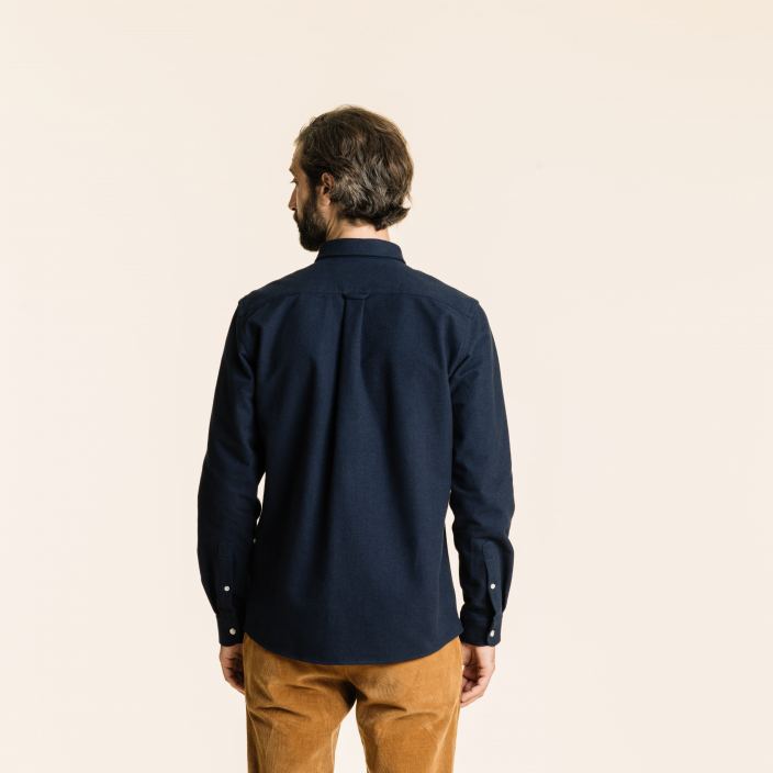 Relaxed fit thick blue flannel shirt