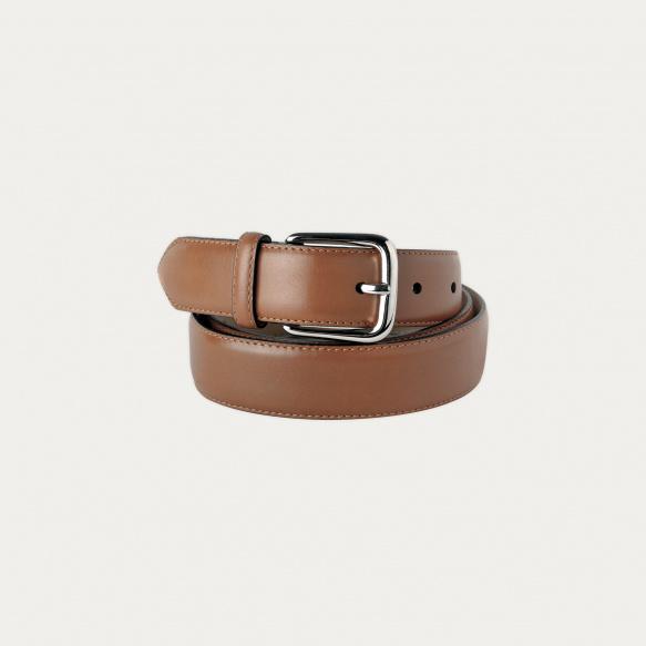 Chestnut full-grain leather...