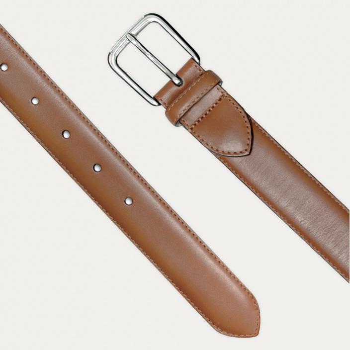 Chestnut full-grain leather belt