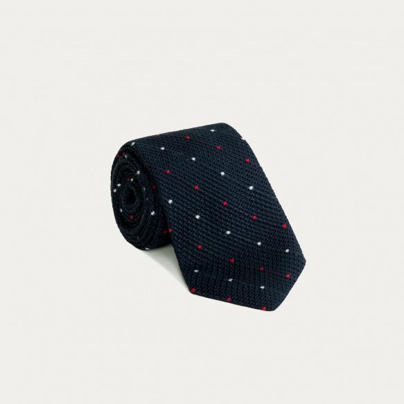 Cravate fine grenadine de soie bleue à pois