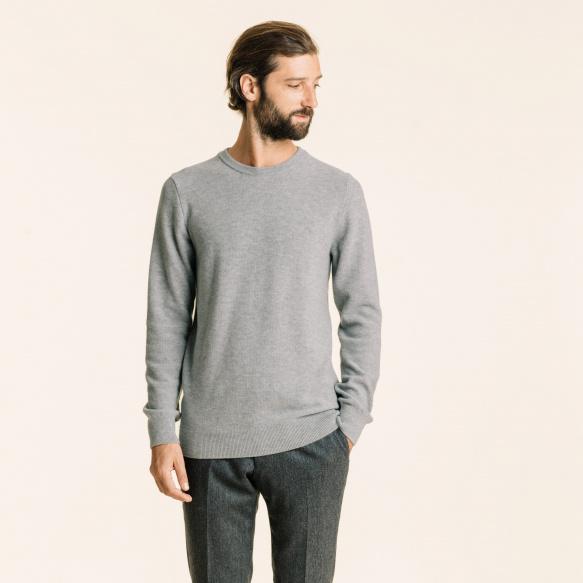 Pull en fine laine merinos texturée gris clair