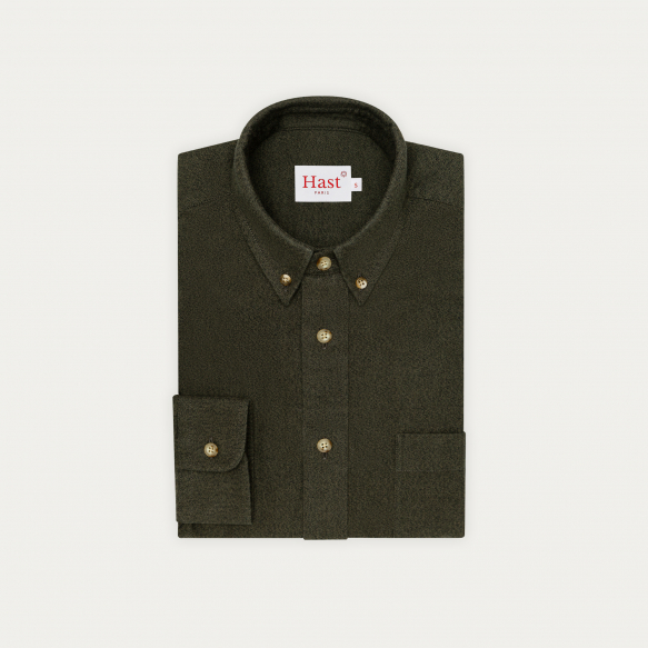 Heathered green flannel...