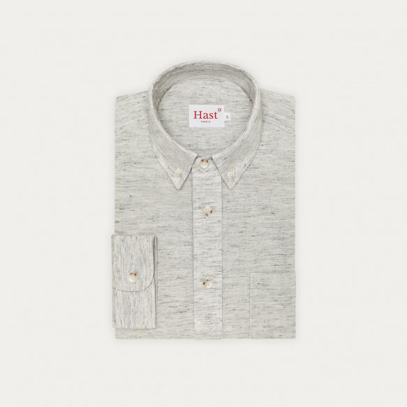 Chemise décontractée en coton, lin et ramie gris chiné