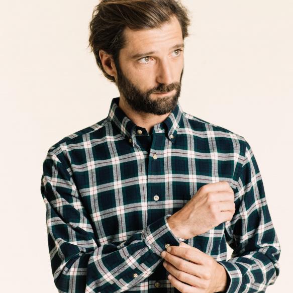 Chemise décontractée en oxford à carreaux verts