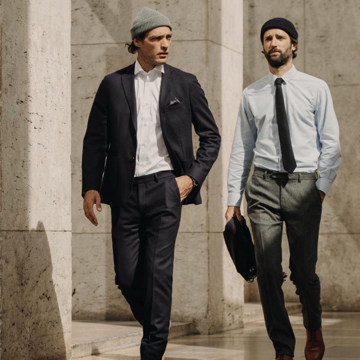 Grey wool flannel trousers