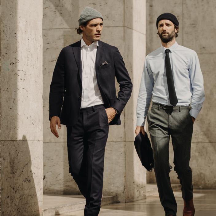 Blue wool flannel trousers