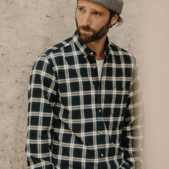 Green checks oxford casual shirt