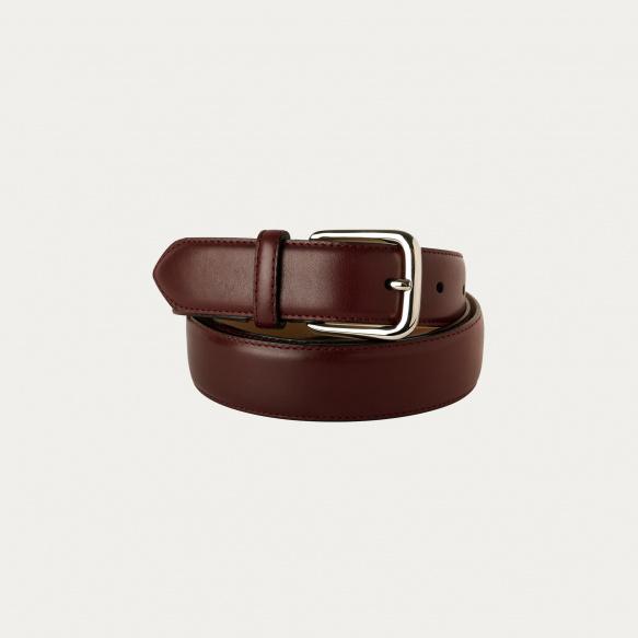 Burgundy full-grain leather...