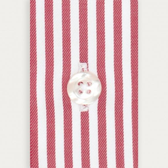 Chemise cintrée en popeline à rayures rouge grenat