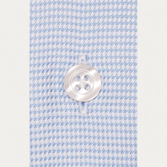 Chemise cintrée en oxford pied de poule bleue