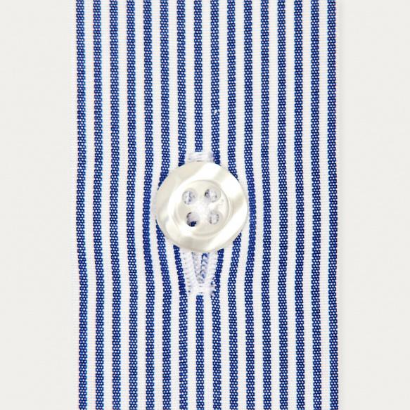Chemise classique en popeline à petites rayures bleu foncé