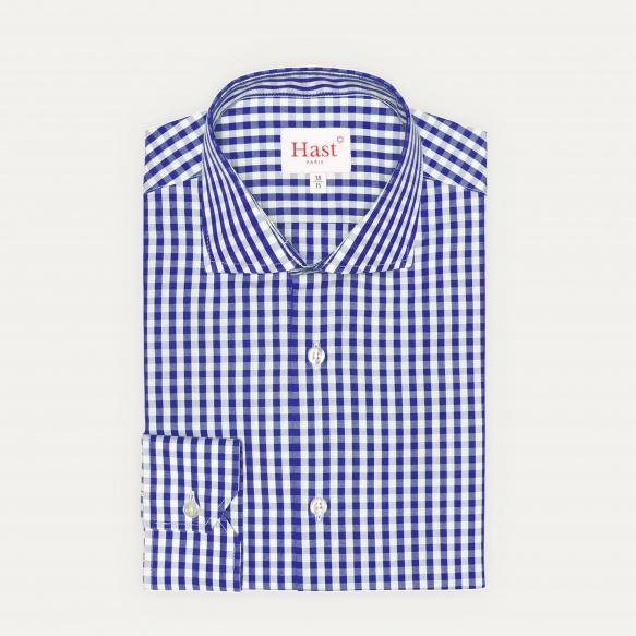 Chemise cintrée en popeline à grands carreaux bleus