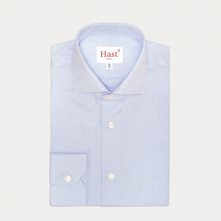 Classic fit blue micro houndstooth royal oxford shirt