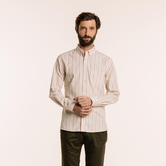 Chemise décontractée en coton écrue à rayures bordeaux
