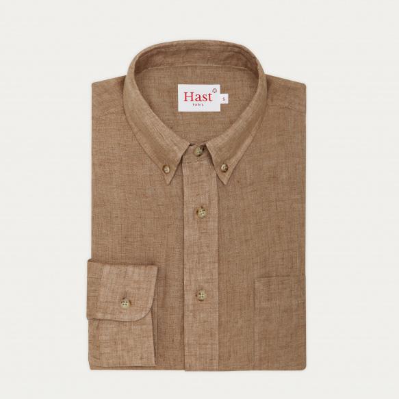 Hazelnut linen casual shirt