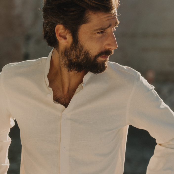 Classic fit hemp and cotton white shirt