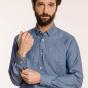 Slim fit textured blue denim shirt