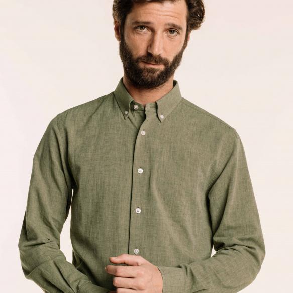Chemise décontractée en chambray japonais verte