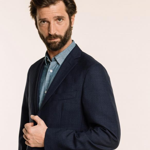 Blue fresco wool jacket