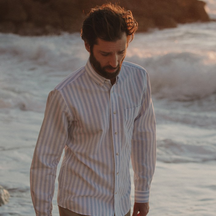 Wide blue and white stripes linen and cotton casual shirt