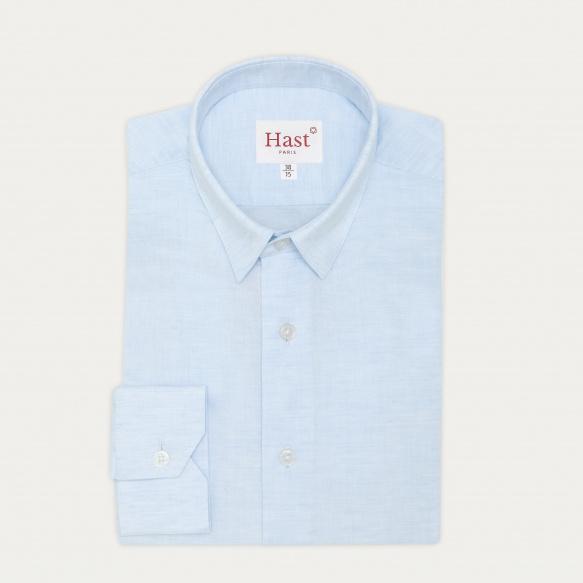 Chemise cintrée en lin et coton bleu clair