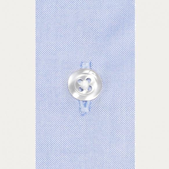 Chemise classique en oxford bleue  à poignets mousquetaires