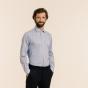 Classic fit thin navy blue stripes twill shirt