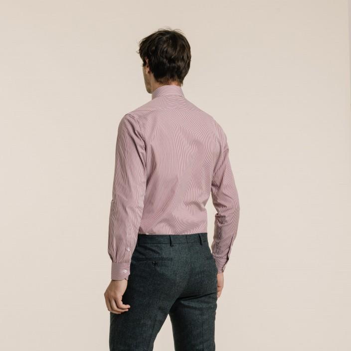 Classic fit poplin wide garnet red colour stripes shirt