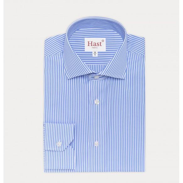 Chemise cintrée en dobby à rayures bleues