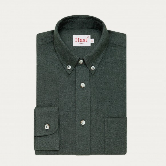 Green flannel casual shirt