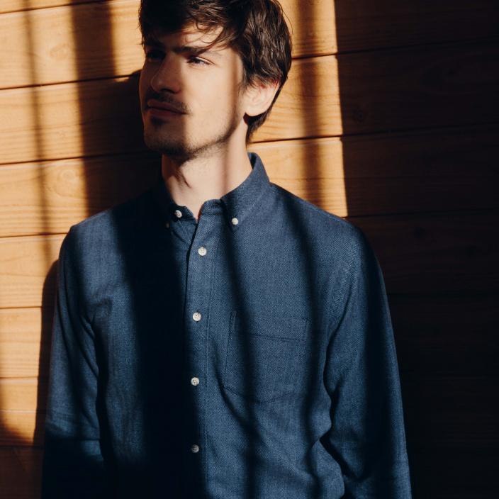 Blue Herringbone flannel casual shirt