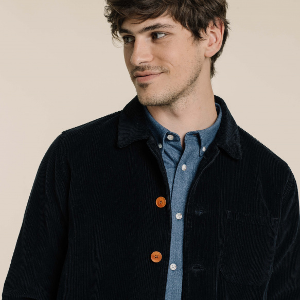 Blue corduroy worker's jacket