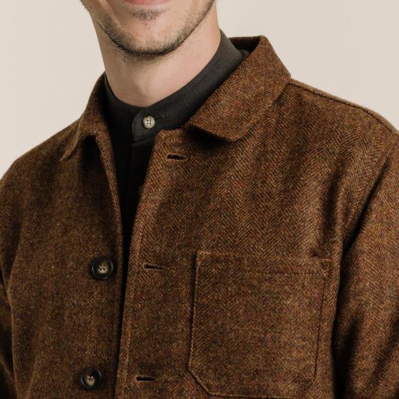 Veste de travail en laine rouille