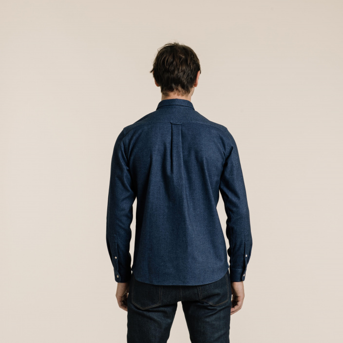 Heathered blue thick flannel casual shirt