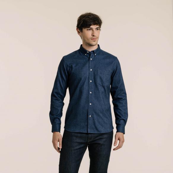 Chemise décontractée en flanelle épaisse bleue chinée