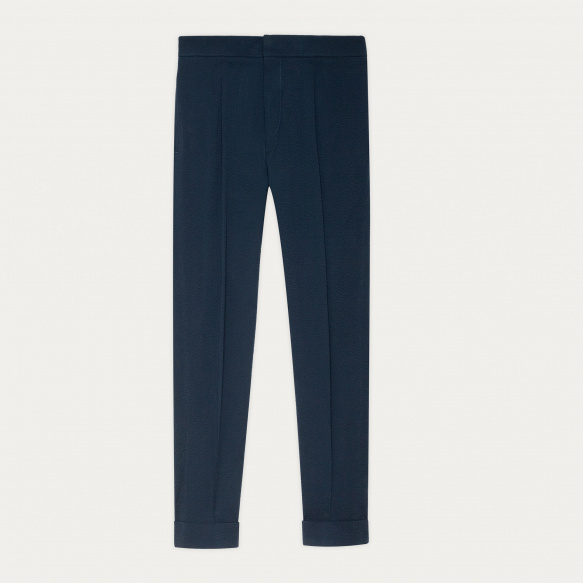 Blue seersucker pleated pants