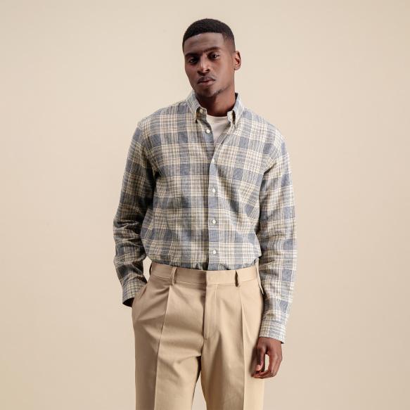 Chemise décontractée en lin et coton à carreaux bleus et beiges