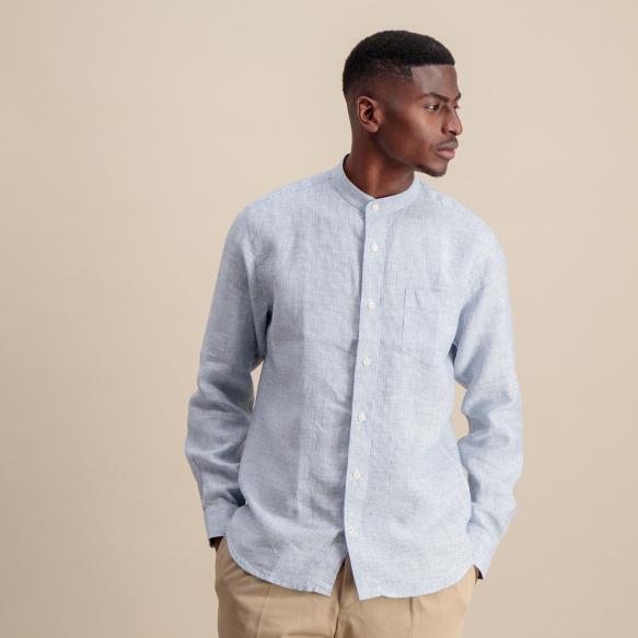 Chemise décontractée en lin et chanvre à rayures bleues et blanches