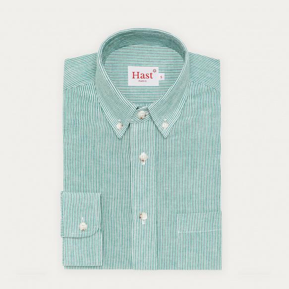 Chemise décontractée en coton, lin et ramie à rayures vertes et blanches
