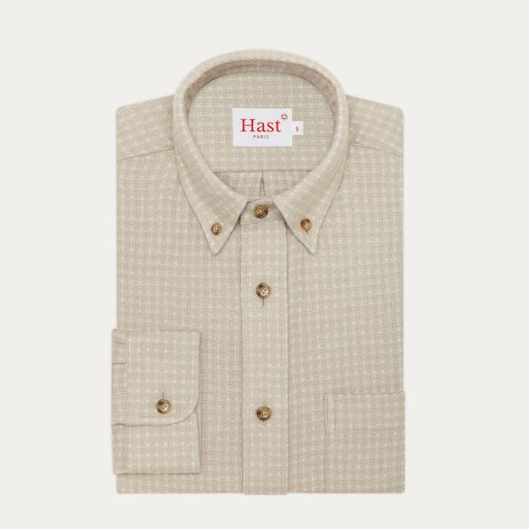 Chemise décontractée en flanelle épaisse japonaise gauffrée blanche et beige