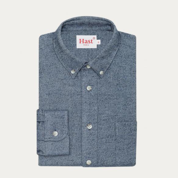 Chemise décontractée en flanelle épaisse bleue