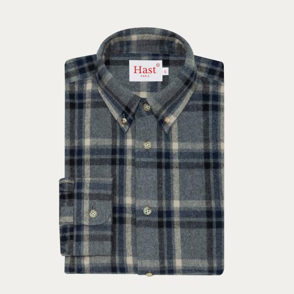 Chemise décontractée en flanelle épaisse japonaise à carreaux gris