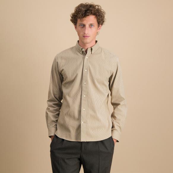 Chemise décontractée en coton japonais à rayures marron et blanches