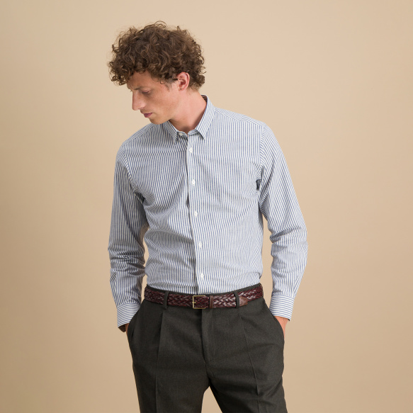 Slim fit navy blue and...