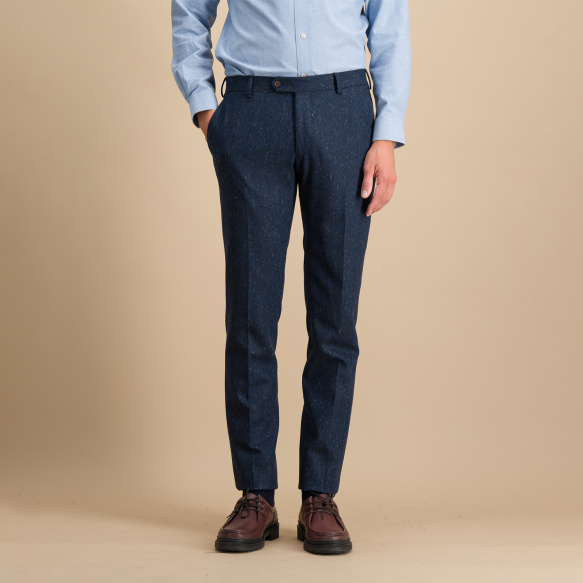 Pantalon en flanelle pucé bleu