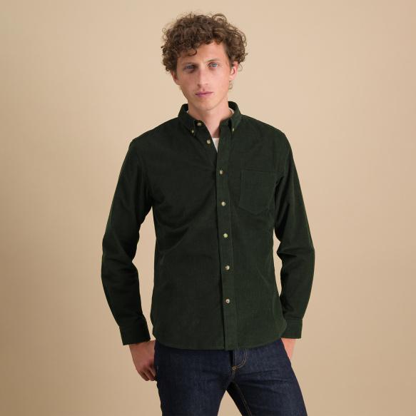 Chemise décontractée en velours vert sapin