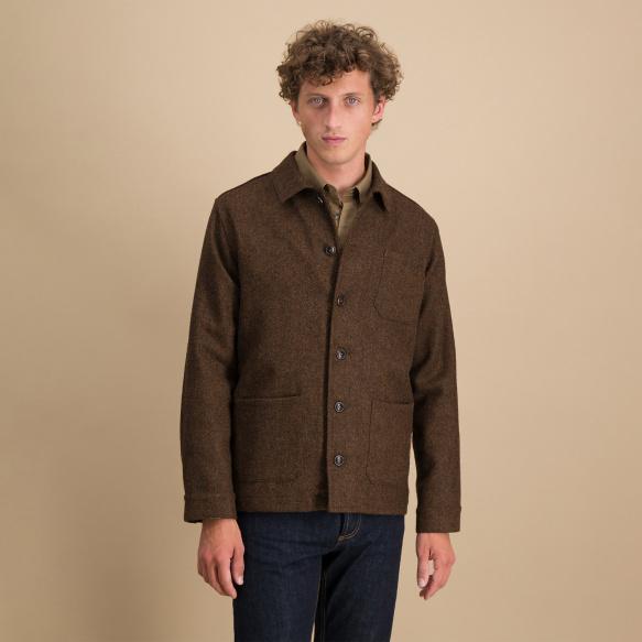 Veste de travail en laine marron