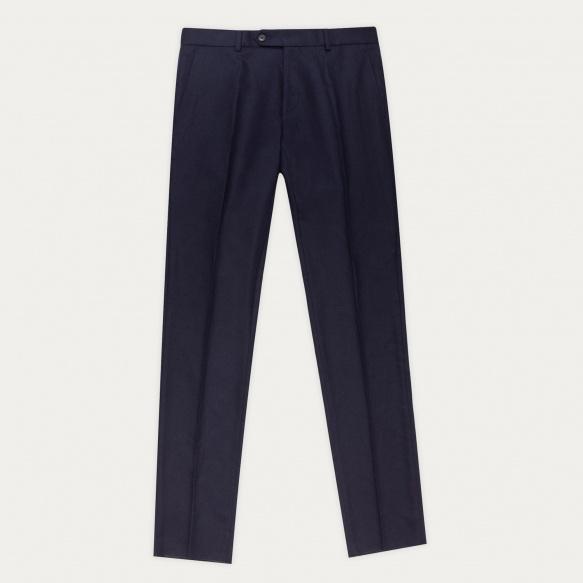 Pantalon en flanelle de laine bleu marine